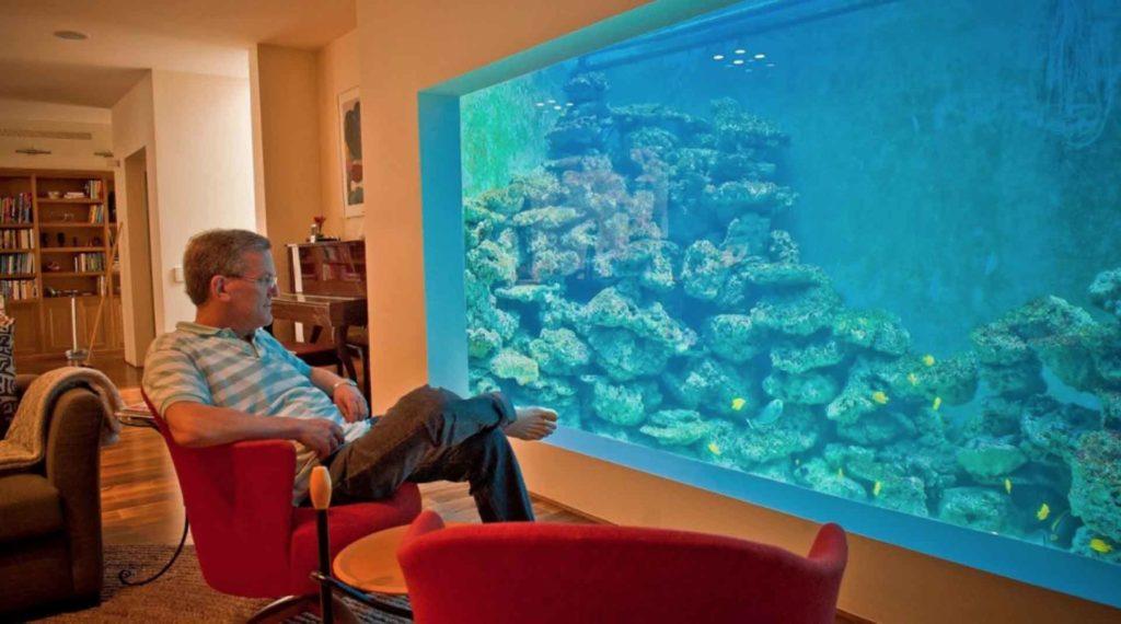 Man sitting in front of large aquarium