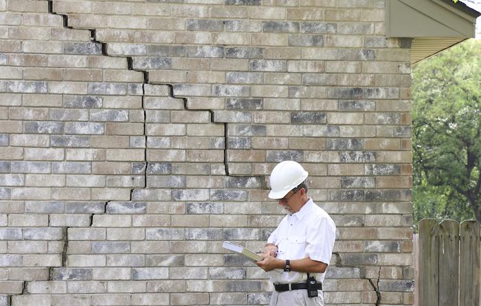 step cracking in brick siding