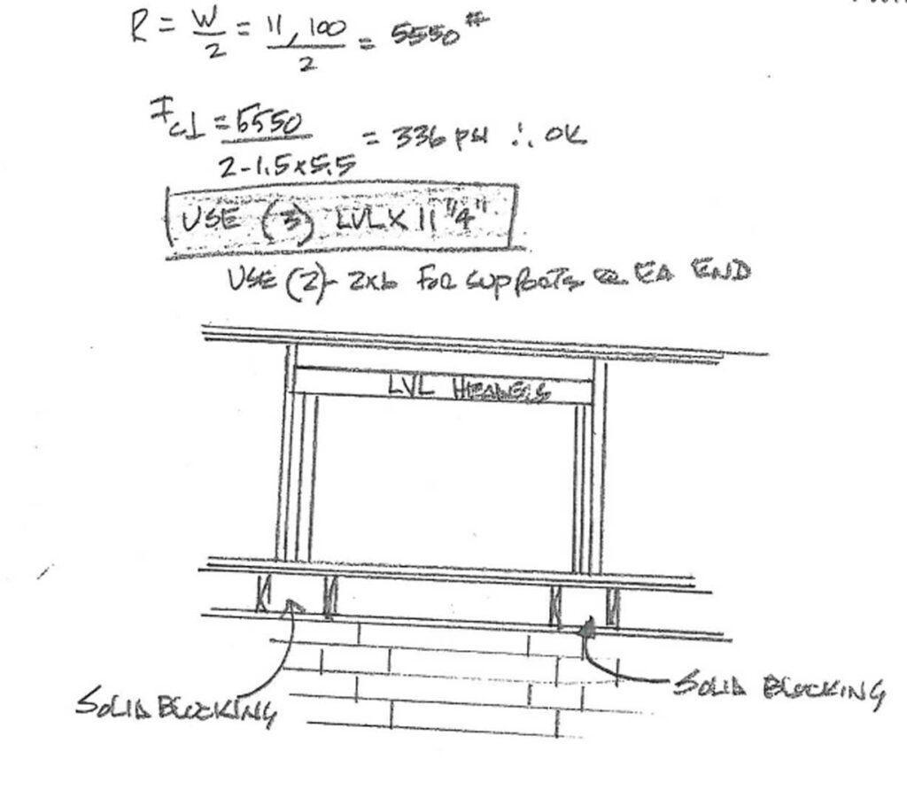 Engineer drawing of a load bearing wall