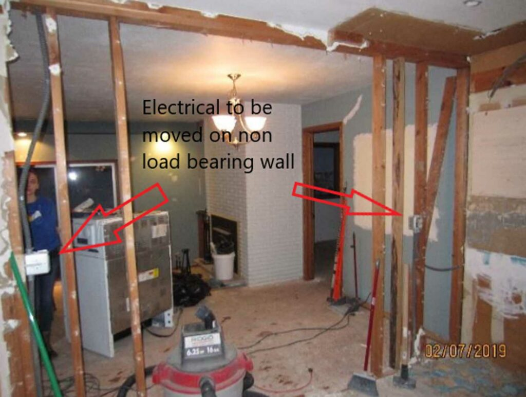 Electrical to be moved to non load bearing wall