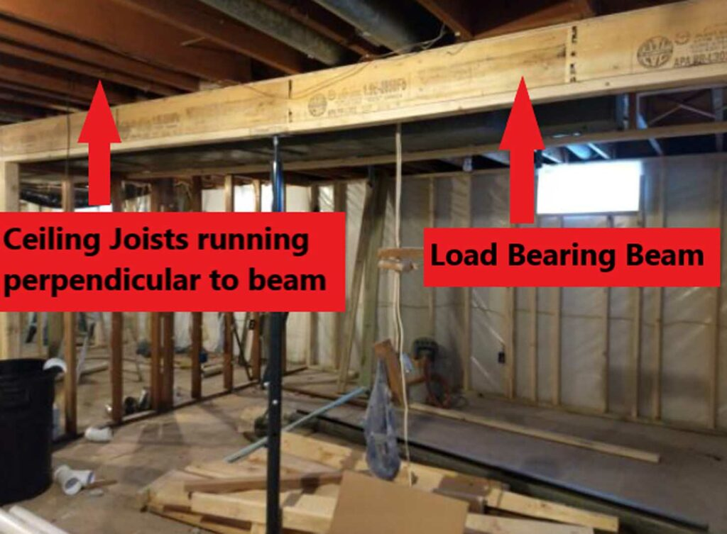 Ceiling joists and load bearing beam