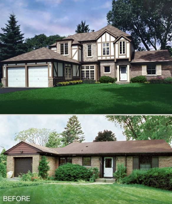 Before and after of a complete home renovation