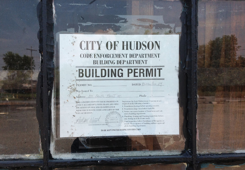 A building permit from the city of hudson