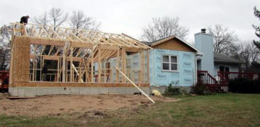 Wood framing of a large home expanssion