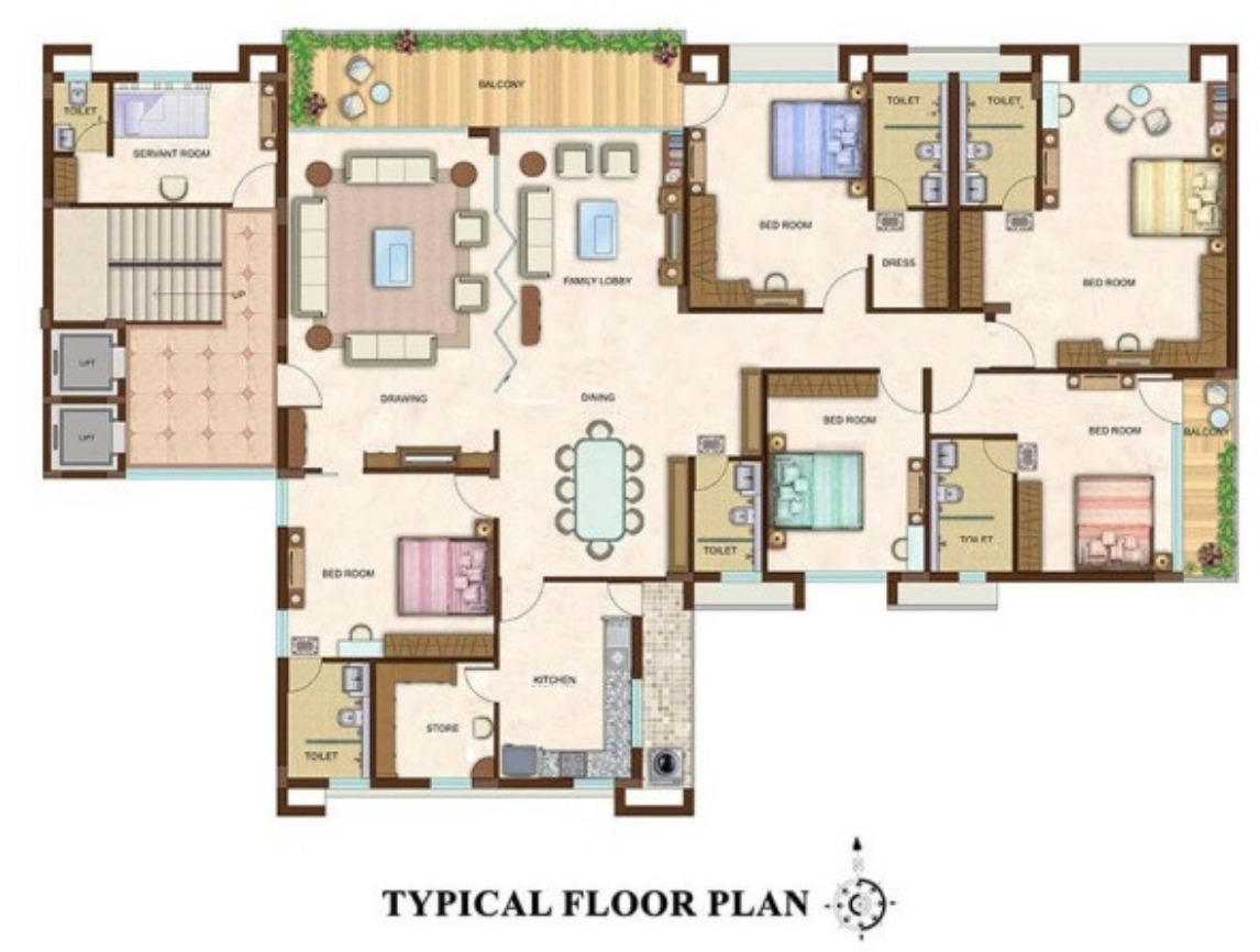 A full color floor plan