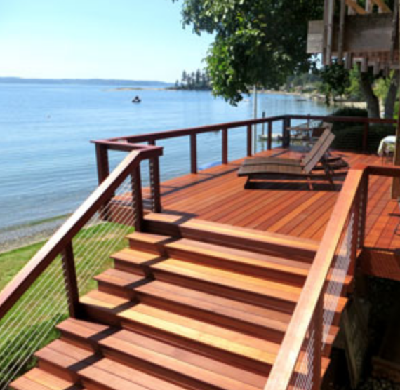 Wooden deck overlooking a large lake