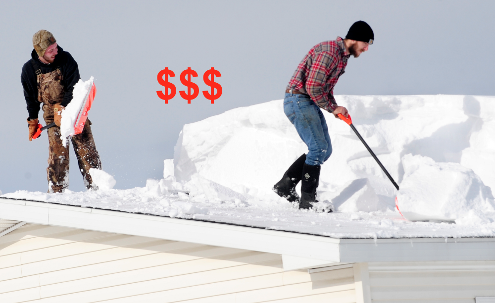 shoveling snow off roof to prevent ice dam