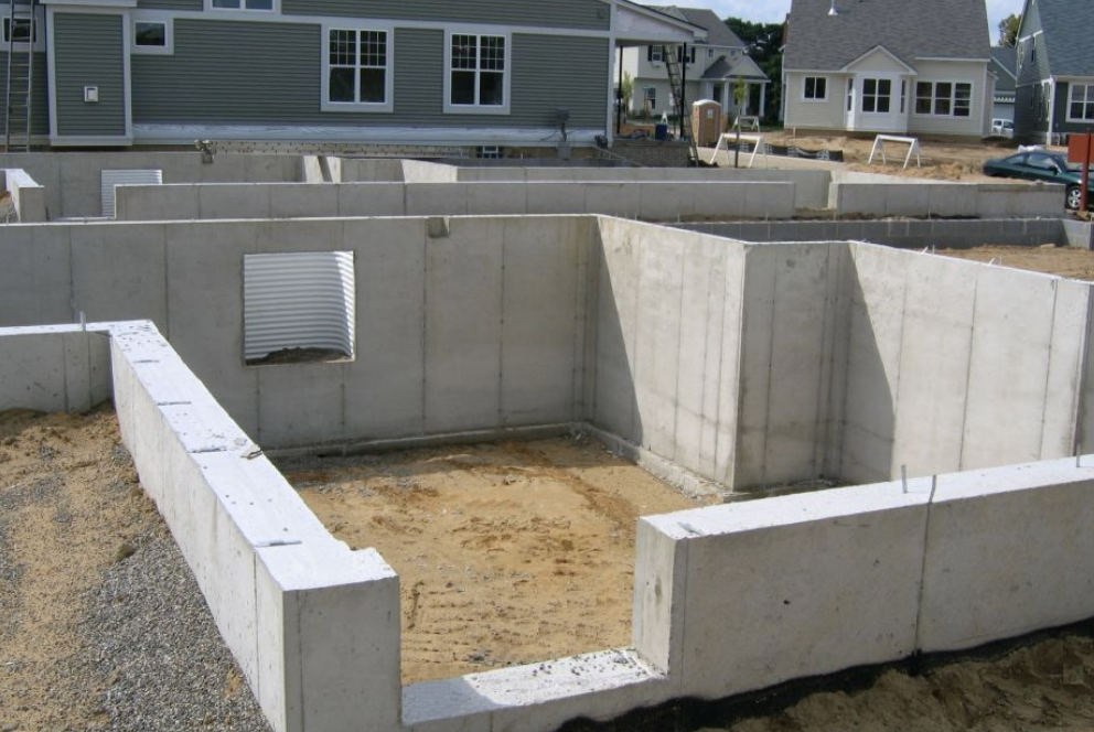 Poured basement foundation