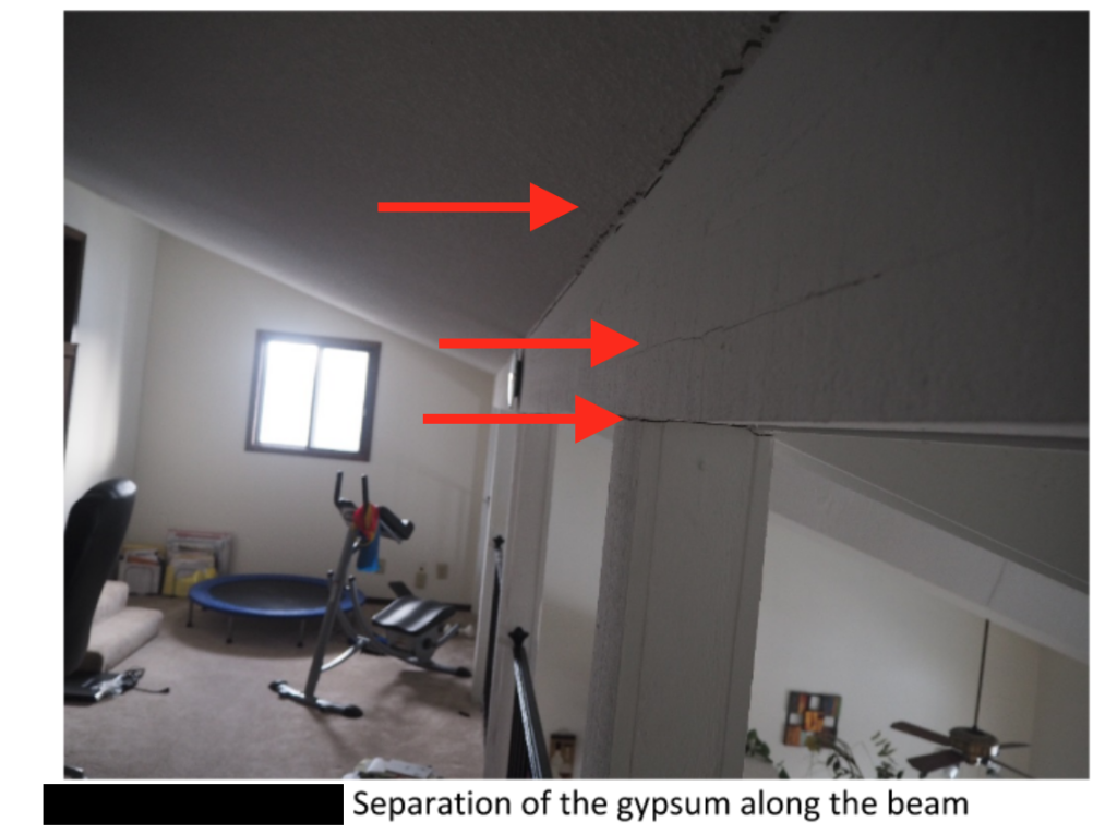 settlement, structural movement in the form of wall and ceiling cracks